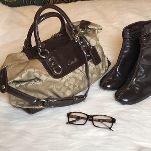 Coach Madison large fabric and brown patent bag
